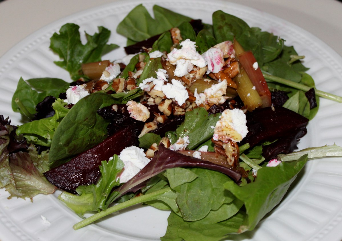 roasted rhubarb and beet salad