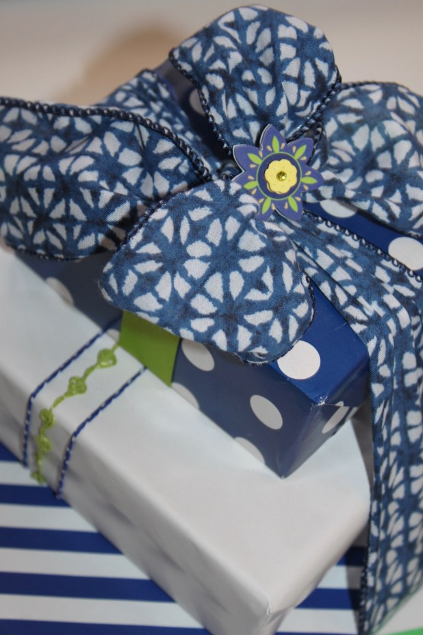 Blue White and Green Coordinated Gift Wrap