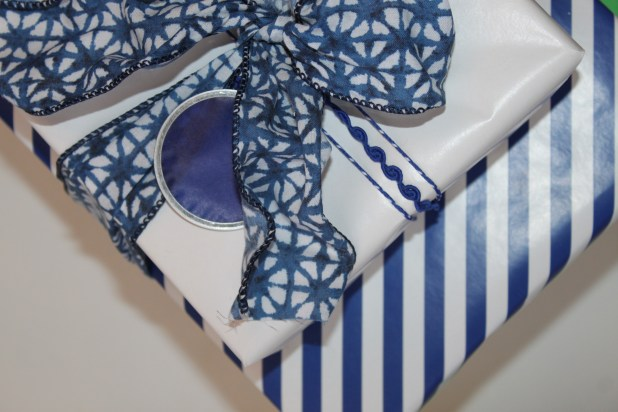 Blue and White Coordinated Gift Wrap Close Up