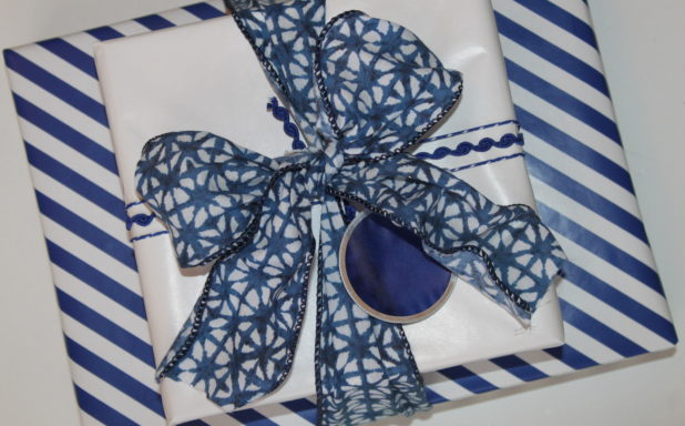 Blue and White Coordinated Gift Wrap