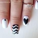 Matte Black and White Nails