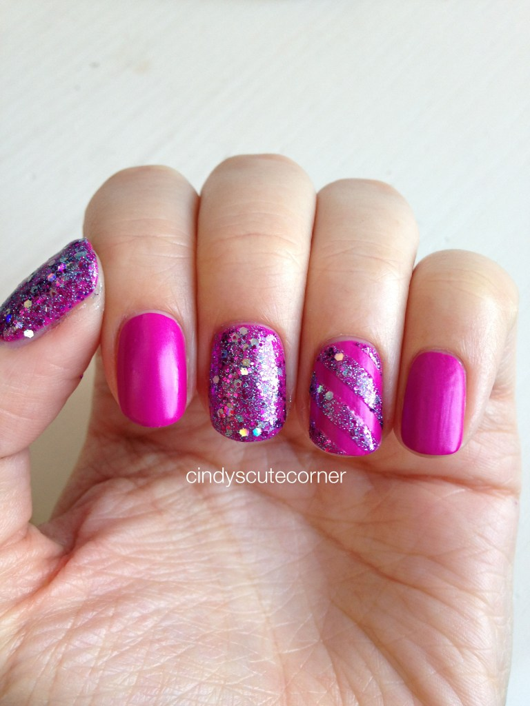 Matte Purple and Glitter Nails
