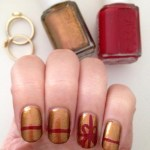 Gold and Red Gift Nails