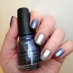 Blue Glitter and Silver Nails