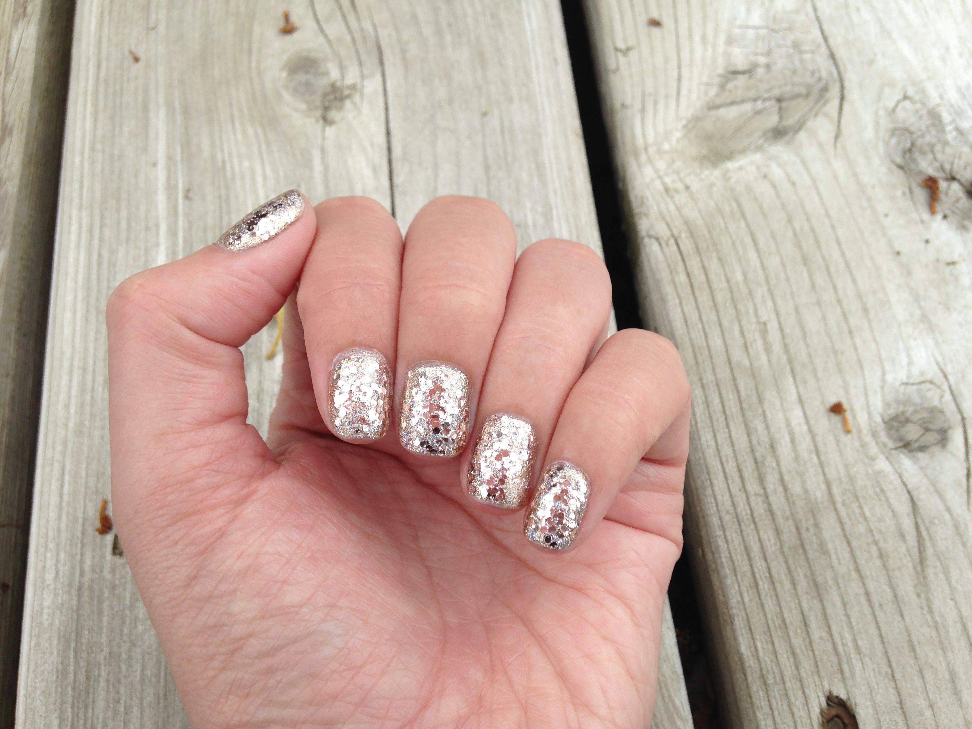 Rose Gold Glitter & Holo Nails