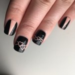 Black & Nude Valentines Day Nails