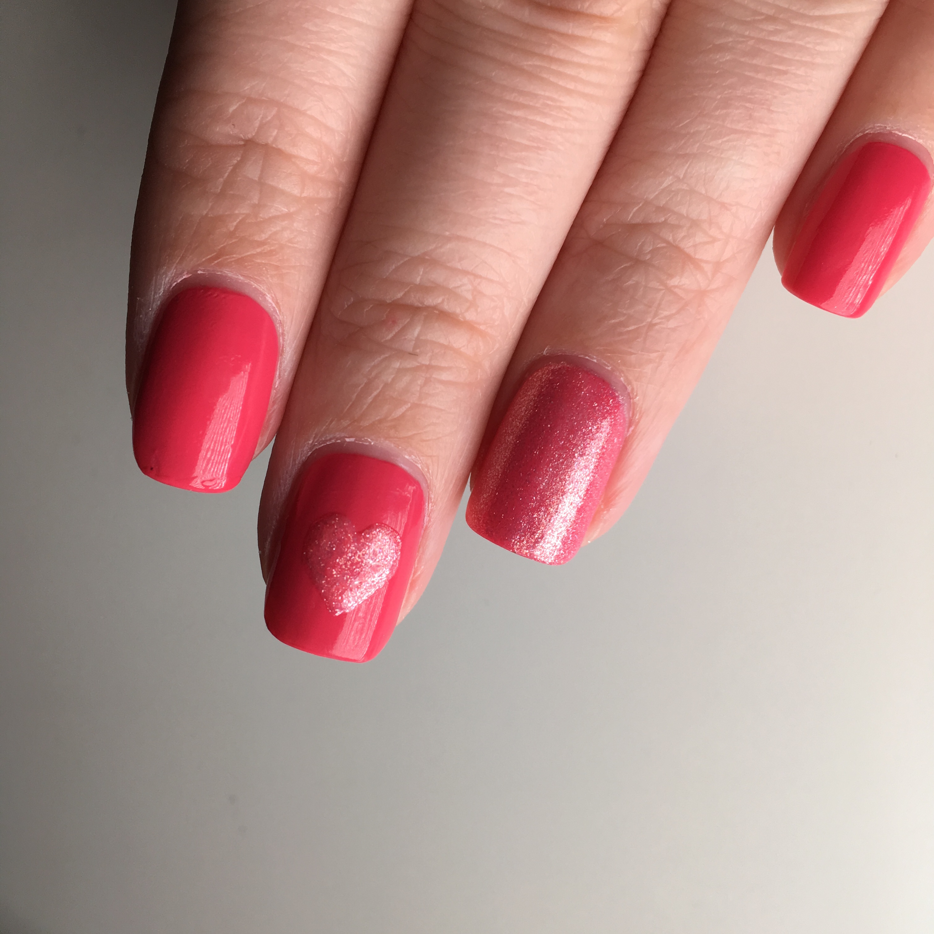 Pink Heart Valentines Day Nails