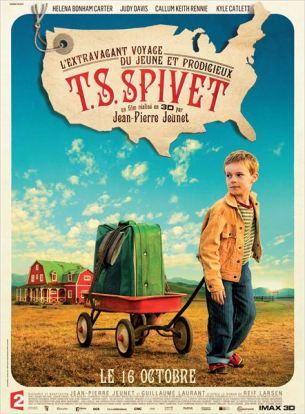 T.S. Spivet, est un jeune garçon de 10 ans qui  vit dans un ranch du Montana avec sa mère obsédée par les coléoptères, son père cow-boy, et sa soeur de quatorze ans qui rêve de Miss América.  Passionné par la cartographie et les inventions scientifiques, il reçoit un appel inattendu du musée Smithsonian lui annonçant qu'il a reçu le très prestigieux prix Baird pour la découverte de la machine à mouvement perpétuel, et qu'il est invité à venir faire un discours.  À l'insu de tous, il décide alors de traverser les États-Unis dans un train de marchandises pour joindre Washington D.C...  Film franco-américain de Jean-Pierre Jeunet, sorti le 16 octobre 2013, avec Helena Bonham Carter, Judy Davis, Callum Keith Rennie, Kyle Catlett, Niamh Wilson et Dominique Pinon.  LIRE LA CRITIQUE