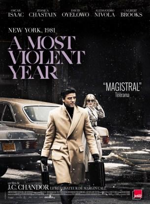 A New York en 1981, l'année  la plus violente qu'ait connu la ville, on suit le destin d'un immigré qui tente de se faire une place dans le business du pétrole.  Son ambition se heurte à la corruption, la violence galopante et à la dépravation de l'époque qui menacent de détruire tout ce que lui et sa famille ont construit.  Film américain de JC Chandor, sorti en France le 31decembre 2014 avec Oscar Isaac, Jessica Chastain, et Albert Brooks.