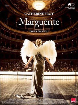 Marguerite Dumont est une parisienne fortunée des années 20, passionnée de musique et d'opéra.  Depuis des années elle chante régulièrement devant son cercle d'habitués. Mais Marguerite chante tragiquement faux et personne ne le lui a jamais dit.  Son mari et ses proches l'ont toujours entretenue dans ses illusions. Tout se complique le jour où elle se met en tête de se produire devant un vrai public à l'Opéra.  Film français de Xavier Giannoli, sorti en France le 16 septembre 2015, avec Catherine Frot, André Marcon, Michel Fau, Christa Théret et Denis Mpunga.  LIRE LA CRITIQUE