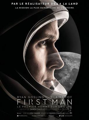Pilote jugé « un peu distrait » par ses supérieurs en 1961, Neil Armstrong sera, le 21 juillet 1969, le premier homme à marcher sur la lune.  Durant huit ans, il subit un entraînement de plus en plus difficile, assumant courageusement tous les risques d'un voyage vers l'inconnu total.  Meurtri par des épreuves personnelles qui laissent des traces indélébiles, Armstrong tente d'être un mari aimant auprès d'une femme qui l'avait épousé en espérant une vie normale.  Film américain de Damien Chazelle, sorti en France le 17 octobre 2018, avec Ryan Gosling, Claire Foy et Jason Clarke.  LIRE LA CRITIQUE