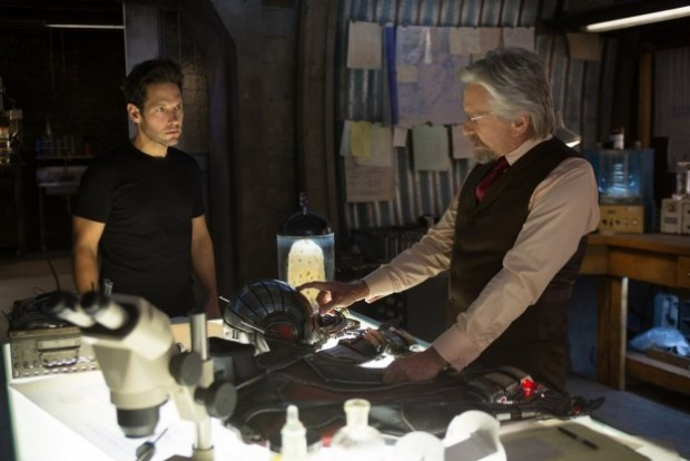 Marvel's Ant-Man L to R: Scott Lang/Ant-Man & Hank Pym (Michael Douglas) Photo Credit: Zade Rosenthal © Marvel 2015
