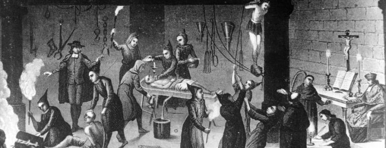 Circa 1520, The Spanish Inquisition at work on suspected Protestants and insincere Christians in a torture chamber. All their gruesome work was carried out in the name of Christianity; note the altar and officiating monks on the right. (Photo by Three Lions/Getty Images)