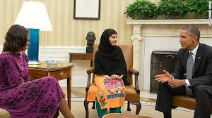 Malala with Barack and Michelle Obama