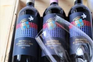 3 annate TOP di Brunello di Montalcino 1997, 2007, 2012 e calici Riedel