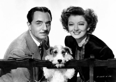 The dog Asta with William Powell and Myrna Loy