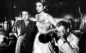 Thelma Ritter, Grace Kelly and James Stewart in Rear Window.
