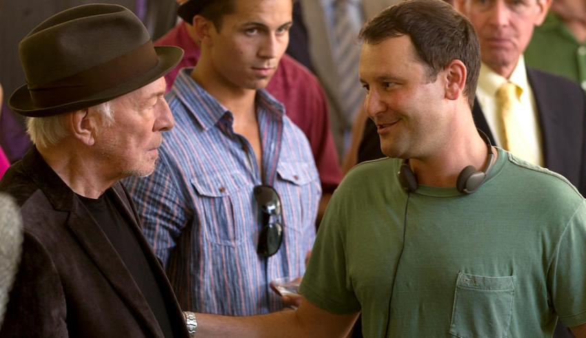 "Christopher Plummer and Dan Fogelman on the set of Bleeker Street's ""Danny Collins"""