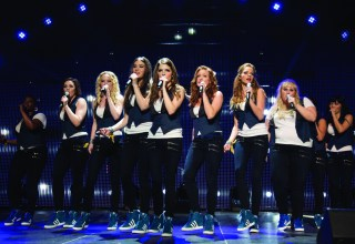 """(L-r) Ester Dean, Shelley Regner, Kelley Alice Jakle, Hailee Steinfeld, Anna Kendrick, Brittany Snow, Alexis Knapp, Rebel Wilson and Hana Mae Lee star in Universal Pictures' """"Pitch Perfect 2"""""""