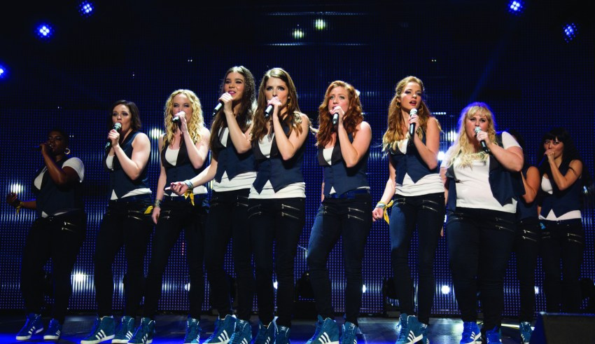 "(L-r) Ester Dean, Shelley Regner, Kelley Alice Jakle, Hailee Steinfeld, Anna Kendrick, Brittany Snow, Alexis Knapp, Rebel Wilson and Hana Mae Lee star in Universal Pictures' ""Pitch Perfect 2"""