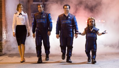 "(L-r) Michelle Monaghan, Adam Sandler, Josh Gad and Peter Dinklage star in Columbia Pictures' ""Pixels"""