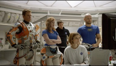 (L-r) Matt Damon, Jessica Chastain, Sebastian Stan, Kate Mara, and Aksel Hennie star in 20th Century Fox's THE MARTIAN