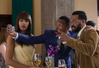 (L-r) Kali Hawk, Marlon Wayans and Mike Epps star in Open Road Films' FIFTY SHADES OF BLACK