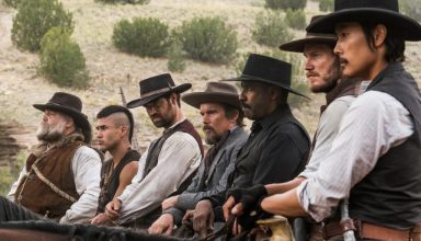(L-r) Vincent D'Onofrio, Martin Sensmeier, Manuel Garcia-Rulfo, Ethan Hawke, Denzel Washington, Chris Pratt and Byung-hun Lee star in Columbia Pictures' THE MAGNIFICENT SEVEN.