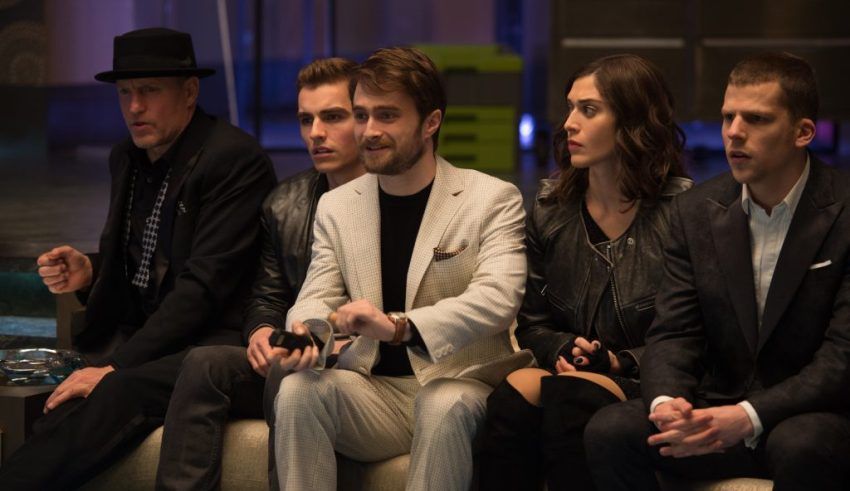 (L-r) Woody Harrelson, Dave Franco, Daniel Radcliffe, Lizzy Caplan and Jesse Eisenberg star in Lionsgate's NOW YOU SEE ME 2