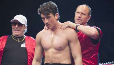 (L-r) Ciaran Hinds, Miles Teller and Aaron Eckhart star in Open Road Films' BLEED FOR THIS