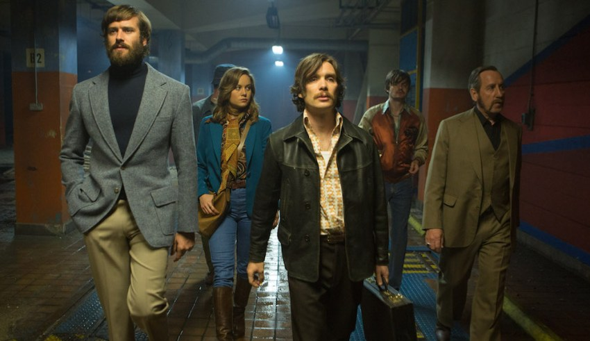 (L-r) Armie Hammer, Brie Larson, Cillian Murphy, Sam Riley and Michael Smiley star in A24 Films' FREE FIRE