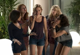 (L-r) Zoe Kravitz, Jillian Bell, Scarlett Johansson, Kate McKinnon and Illana Grazer in Columbia Pictures' ROUGH NIGHT