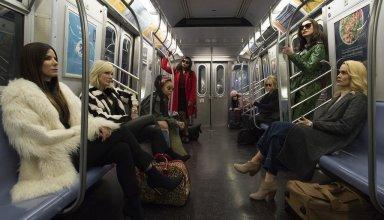 (L-R) Sandra Bullock, Cate Blanchett, Rihanna, Mindy Kaling, Awkwafina, Anne Hathaway and Sarah Paulson star in Warner Bros. Pictures' OCEAN'S 8