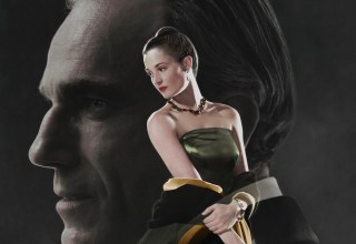 Poster image of Focus Features' PHANTOM THREAD featuring Daniel Day-Lewis and Vicky Krieps