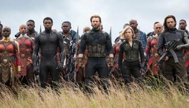 (L to R) Danai Gurira, Chadwick Boseman, Chris Evans, Scarlet Johansson and Sebastian Stan star in Marvel Studios' AVENGERS: INFINITY WAR