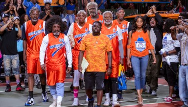 (L to R) Chris Webber, Nate Robinson, Lisa Leslie, Shaquille O'Neal as, Lil Rel Howery, Kyrie Irving, Reggie Miller, and Erica Ash star in Lionsgate Films' UNCLE DREW