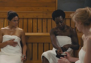 (L-R) Michelle Rodriguez, Viola Davis, and Elizabeth Debicki star in Twentieth Century Fox's WIDOWS