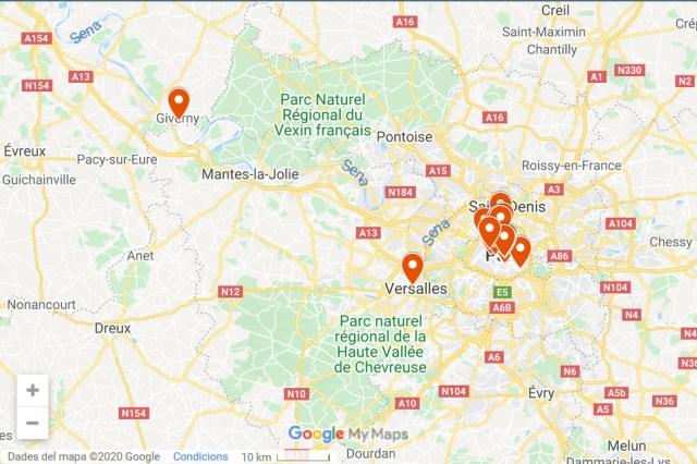 París y alrededores - localizaciones