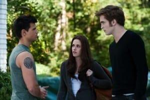Taylor Latuner, Kristen Stewart e Robert Pattinson (Jacob, Bella e Edward)