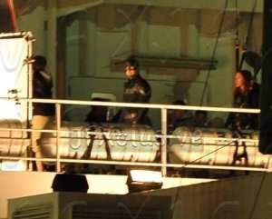 Chris Evans e Scarlett Johansson durante le riprese di Captain America: The Winter Soldier
