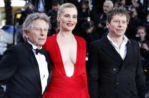 Roman Polanski, Emmanuelle Seigner e Mathieu Amalric   © Valery Hache/Getty Images
