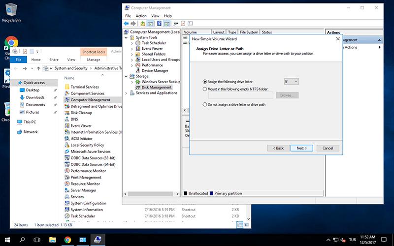 Windows Server 2016 Disk Bölme
