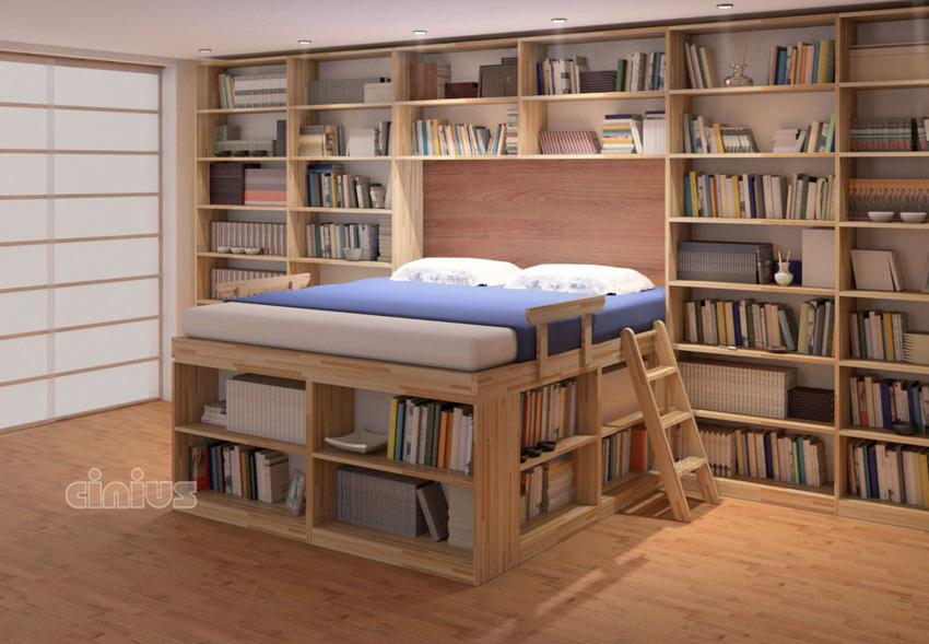 Letto Biblioteca di Cinius dormire in una libreria