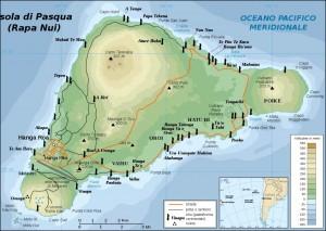 Isola di Pasqua, mappa Moai