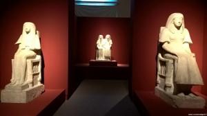 Bologna, Mostra Egizi, statue di Maya e Meryt