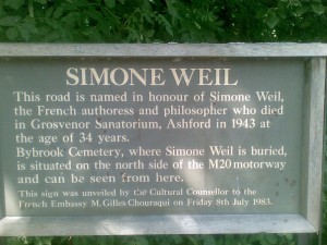 Simone Weil, targa commemorativa ad Ashford