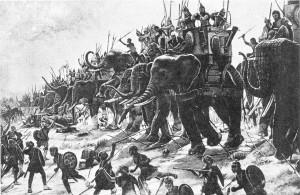 Gli 80 elefanti schierati da Annibale nella battaglia di Zama