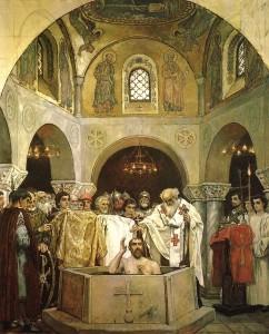 Il battesimo di Vladimir I di Kiev in un dipinto di Viktor Vasnecov