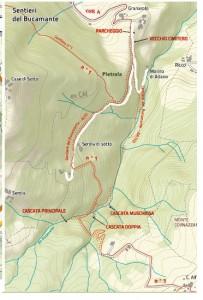 Cascate del Bucamante, mappa sentieri