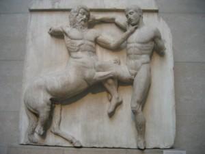 Metopa, fregio sud Partenone, marmi di Elgin, British Museum, Londra